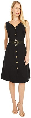 Paul Smith PS Button Front Dress (Black) Women's Clothing