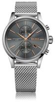 HUGO BOSS 1513440 Chronograph Stainless Steel Mesh Strap Quartz Jet Watch One Size Assorted-Pre-Pack