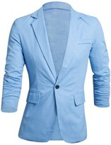 uxcell Allegra K Men Long Sleeve Notched Lapel Slim Fit Linen Blazer L
