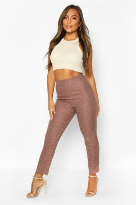 boohoo Petite Dogtooth Check High Waist Tapered Pants