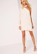 Missguided Choker Neck Asymmetric Shift Dress White