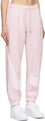 Nike Pink & White Swoosh Fleece Jogger Lounge Pants