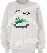 River Island Womens Grey 'detroit' print lace trims sweatshirt