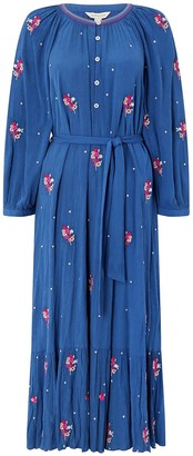 Monsoon Clara Embroidered Ecovero Midi Dress - Blue