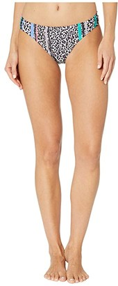 Jessica Simpson Cool Cats Side Shirred Hipster Bottoms (Rose Multi) Women's Swimwear