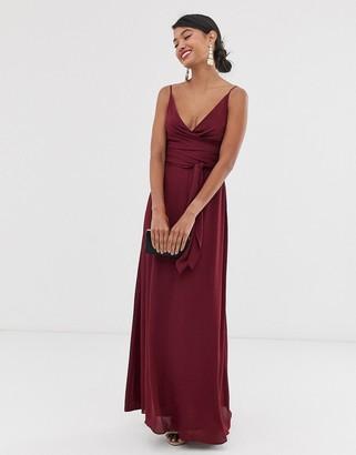Asos Design DESIGN cami wrap maxi dress with tie waist-Purple