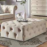 Three Posts Huskins Tufted Cocktail Ottoman Upholstery Color: Beige