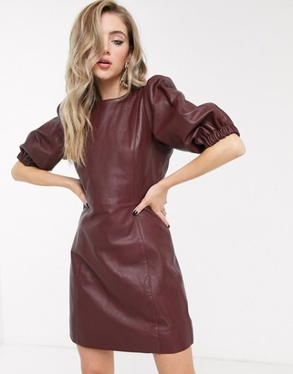Object leather dress with puff sleeve in burgundy-Red