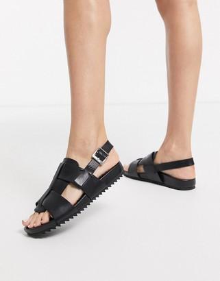 Grenson Willa black leather sandals