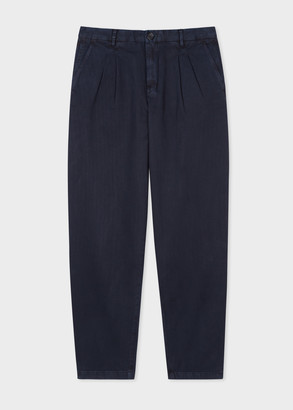 Paul Smith Men's Navy Double-Pleat Chinos