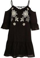 River Island Womens Black embroidered cold shoulder dress