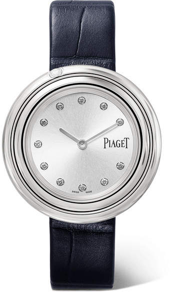 Piaget Possession 34mm Alligator, Stainless Steel Diamond Watch - Silver