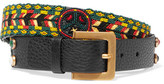 Valentino Beaded Textured-leather Belt - Black