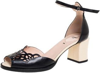 Fendi Black Leather Chameleon Block Heel Ankle Strap Sandals Size 39