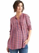 Gap Maternity plaid long sleeve pintuck shirt
