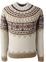 Lands' End Men's Wool Blend Crewneck Yoke Fair Isle Sweater-Ivory