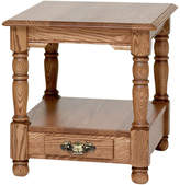 The Oak Furniture Shop Country Trend Solid Oak End Table with Drawer, Golden Oak
