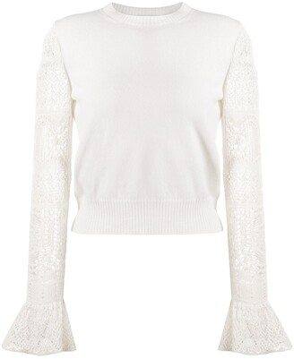 Alexander McQueen Lace Sleeve Knitted Top