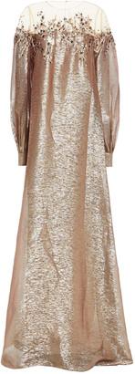 Oscar de la Renta Embellished Embroidered Tulle And Silk-blend Lame Gown
