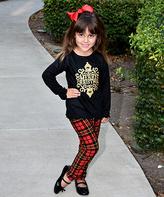 Beary Basics Black 'Merry Christmas' Top & Plaid Leggings - Toddler & Girls