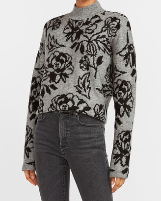 Express Floral Jacquard Mock Neck Sweater