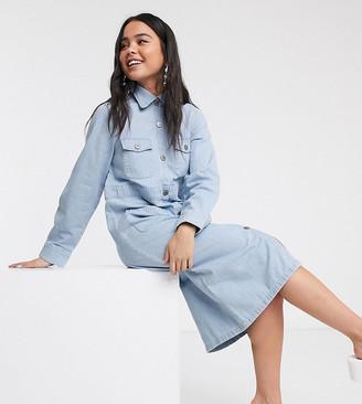 Monki button through utility shirt dress in light blue