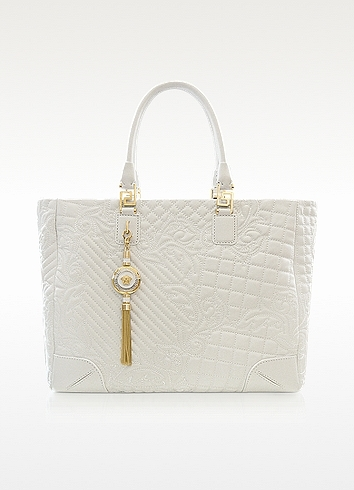 Versace Elettra Vanitas - Large White Quilted Leather Tote