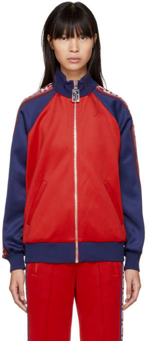 Marc Jacobs Red and Navy Logo Track Jacket