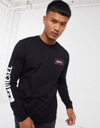 Diesel T-Diegos-LS-K40 denim division long sleeve logo t-shirt in black
