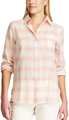 Chaps Women's Plaid Relaxed Fit Shirt