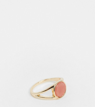 ASOS DESIGN Curve ring with rose semi-precious stone in gold tone