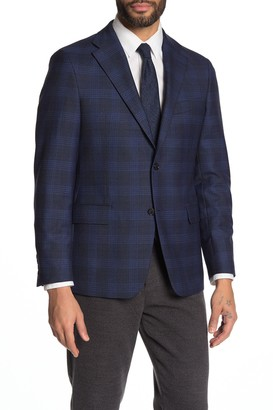 Hickey Freeman Plaid Notch Collar Dual Button Sports Coat