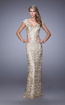 La Femme 21680 Gilded Metallic Lace Evening Gown