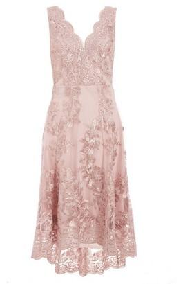 Dorothy Perkins Womens Quiz Pink Embroidered Dip Hem Skater Dress, Pink