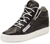 Giuseppe Zanotti Men's Leather Mid-Top Sneaker, Brown