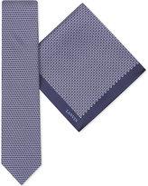 Lanvin Diamond-print silk tie and pokcet square set