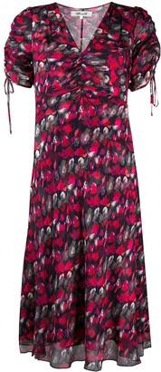 Dvf Diane Von Furstenberg Floral Print Ruched Dress