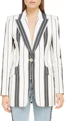 Alexander McQueen Stripe Linen & Cotton Blazer