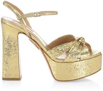 Aquazzura Baba Glitter Platform Sandals