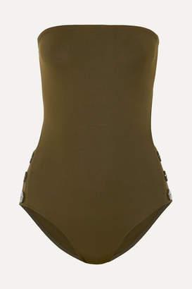 Eres Pop Epic Cutout Button-detailed Bandeau Swimsuit - Army green