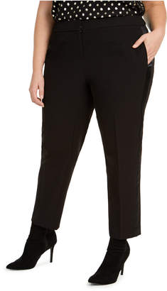 Bar III Trendy Plus Size Tuxedo Satin-Stripe Straight-Leg Pants
