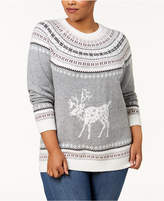 Tommy Hilfiger Plus Size Fair Isle Deer-Print Sweater, Created for Macy's
