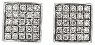 Piaget 2000s Pre-Owned 18kt White Gold Diamond Square Stud Earrings