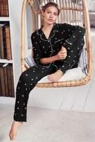 Womens Next Monochrome Floral Jersey Button Through Pyjamas - Black