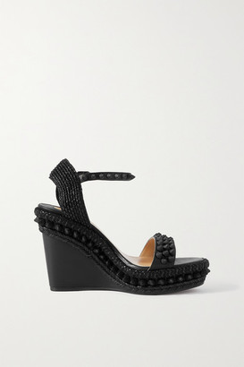 Christian Louboutin Lata 110 Spiked Leather Espadrille Wedge Sandals - Black