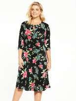 V by Very Curve Three Quarter Sleeve Jersey Tea Dress