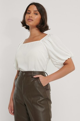 NA-KD Puff Sleeve Smock Back Top