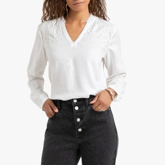 Esprit Embroidered Gathered Blouse with Long Sleeves