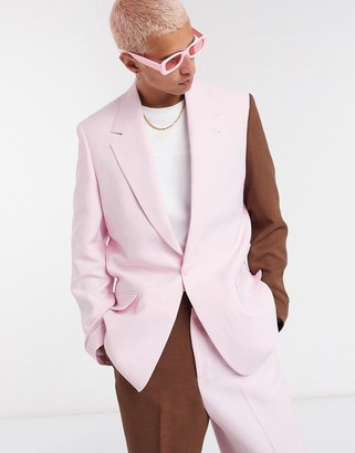 Jaded London co-ord double breasted blazer in pink and chocolate
