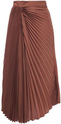 Brunello Cucinelli Asymmetric Pleated Crepe De Chine Midi Skirt